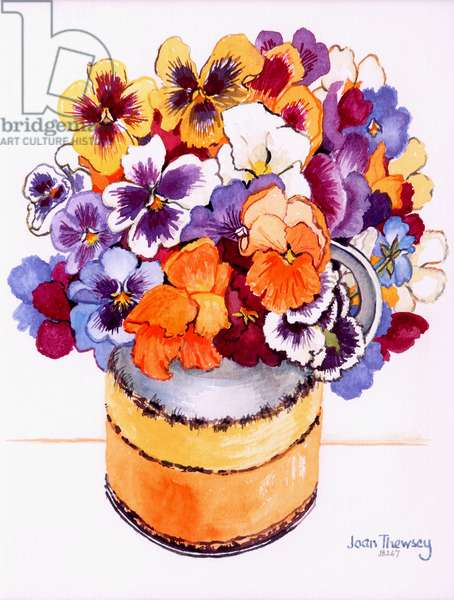 Pansies in a Midwinter Jug,2000. water colour on handmade paper