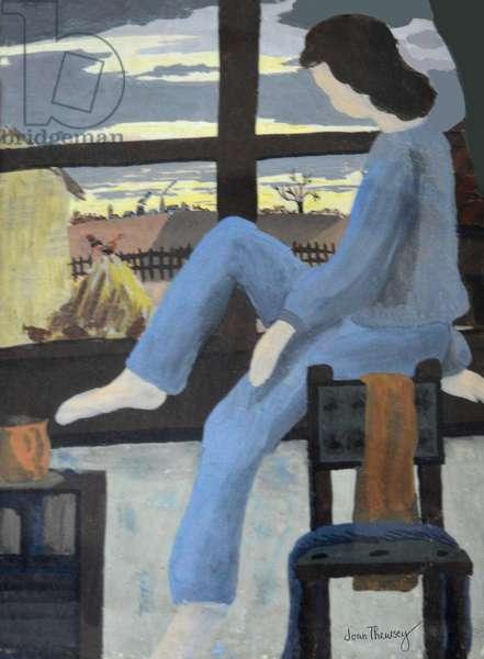 Girl Watching the Dawn, 1950,(gouache)