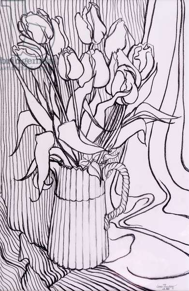 Tulips against a Striped Cloth,2000,graphite