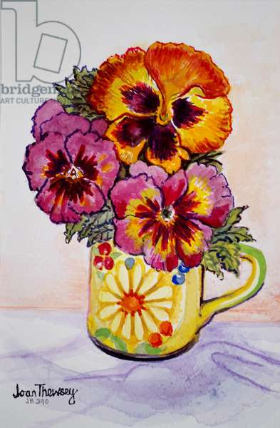 Pansies in a Patterned Mug, 2015,(water colour)