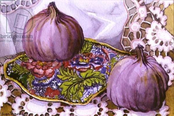 Figs on a Blue and Green Plate (w/c on paper)