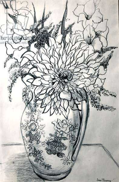 Dahlias and Gladioli in a Chinese Patterned Jug, (watercolour)