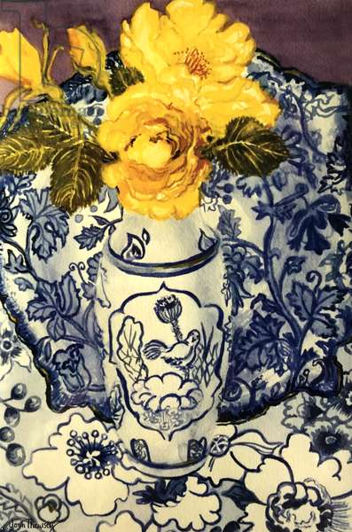 Yellow Roses in a Blue and White Vase with Patterned Blue and White Textiles, (watercolour)