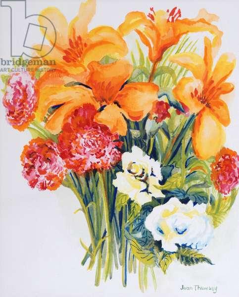 Orange Lilies,Gardenias and Carnations 2006 (w/c on paper)