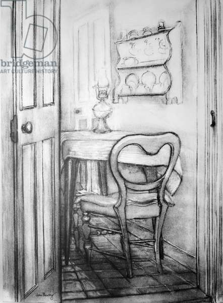 The Cottage Kitchen,1975 (charcoal)