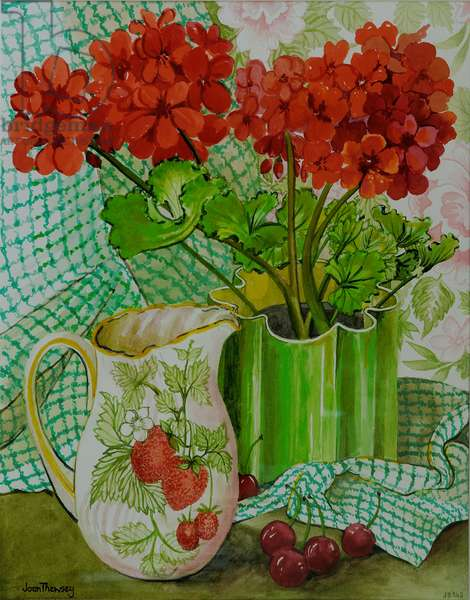 Red geranium with the strawberry jug and cherries (w/c on hand-made paper)