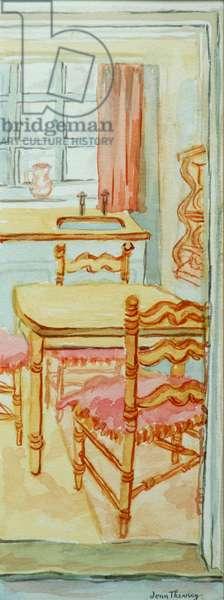 Red Cottage Kitchen, Suffolk,2000,water colour on handmade paper