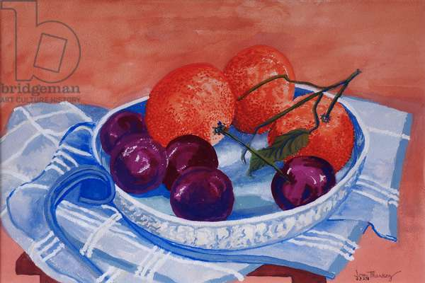 Plums and Mandarins in a dish, 2013, gouache.