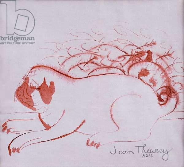 Pug Puppy 2,2005,(ink on wet paper)