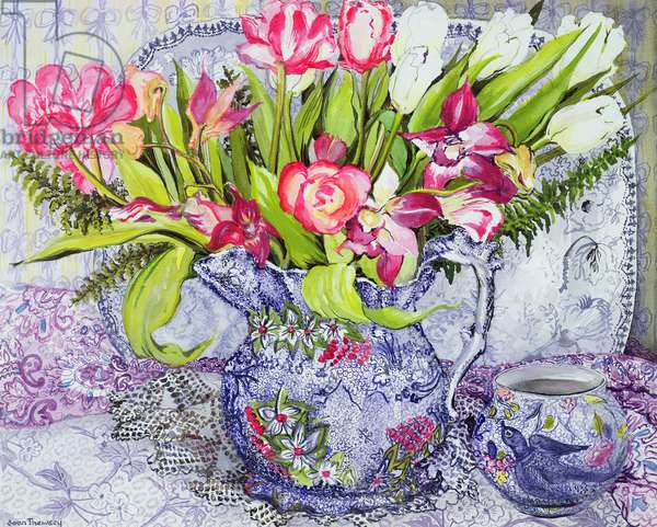 Pink and White Tulips, Orchids and Blue Antique China (w/c)