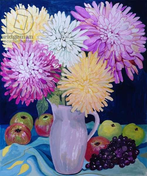 Autumn; Giant Dahlias and Fruit 2012 (gouache on paper)