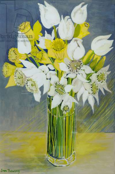 Daffodils and white tulips in an octagonal glass vase (gouache on paper)
