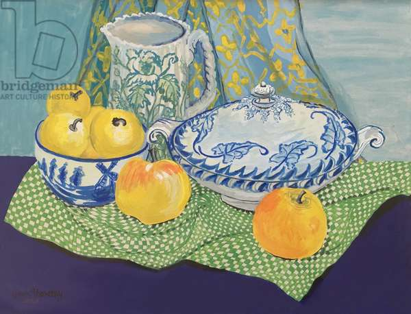 Still life with Tureen and Apples,1999, (gouache)