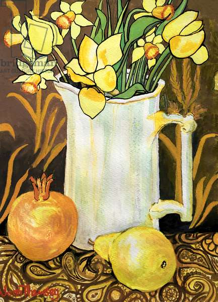 Tulips and Daffodils in a White Jug, with textiles, pomegranate and pear (watercolour)