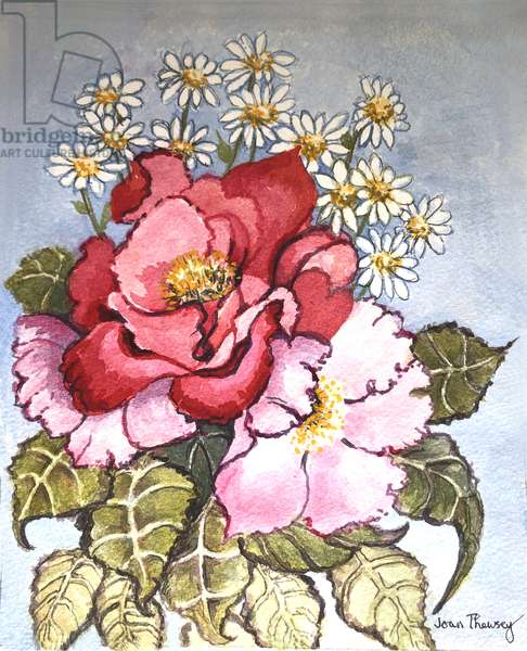 One Red and one Pink Rose, (watercolour)