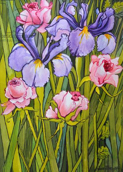 Roses and Irises in the Garden,2003, (watercolour)