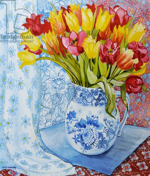 Red and yellow tulips in a Copeland jug (w/c on hand-made paper)