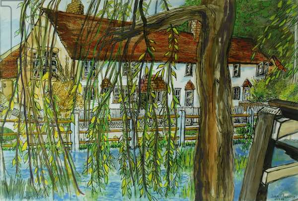 The Pond at Hedgerley (pen & ink with gouache on paper)