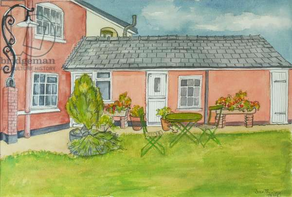 Back Garden, Red Cottage Studios, Suffolk,2000 pencil with  water colour washes