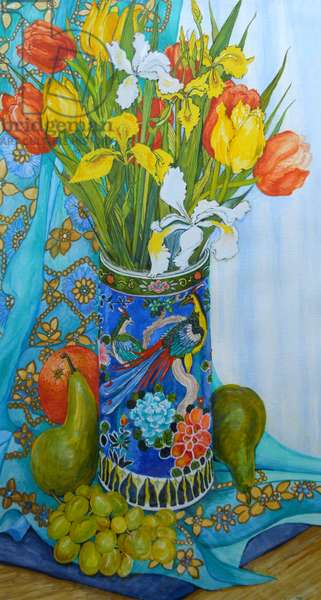 Tulips and Iris in a Japanese Vase, with fruit and textiles,2000 (watercolour)