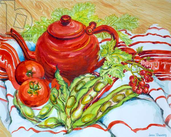 The Red Teapot, (watercolour)