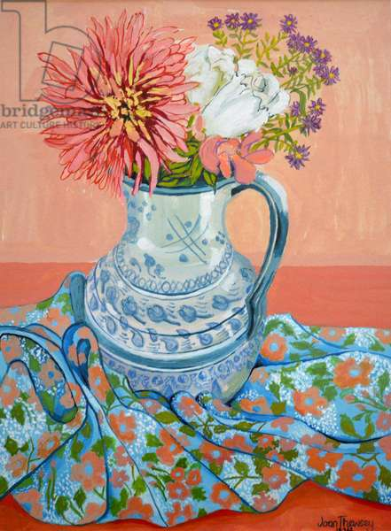 Dahlias, Roses and Michaelmas Daisies,2000, (watercolour)