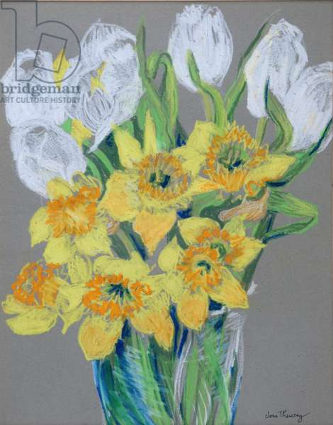 Daffodils and White Tulips, 2000 (oil pastel on ingres paper)