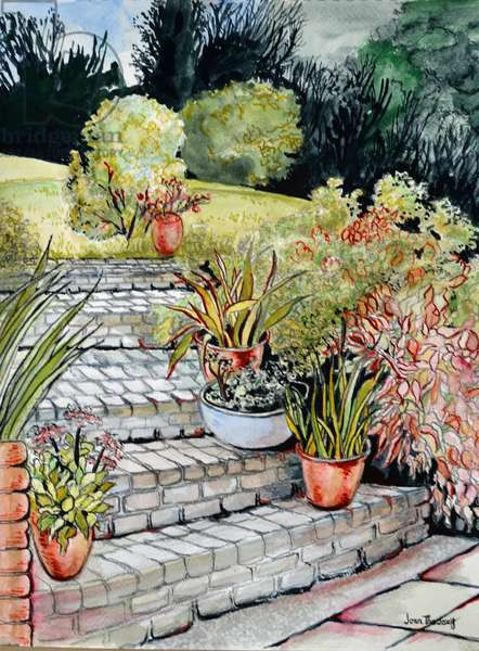 Steps up to the Garden,2014 (watercolour)