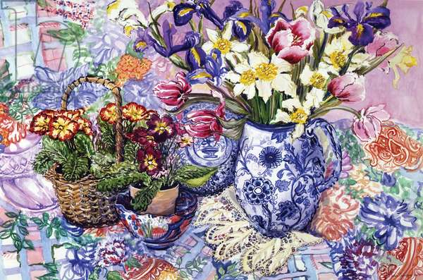 Daffodils, Tulips and Iris in a Jacobean Blue and White Jug with Sanderson Fabric and Primroses, 2012 (w/c on paper)