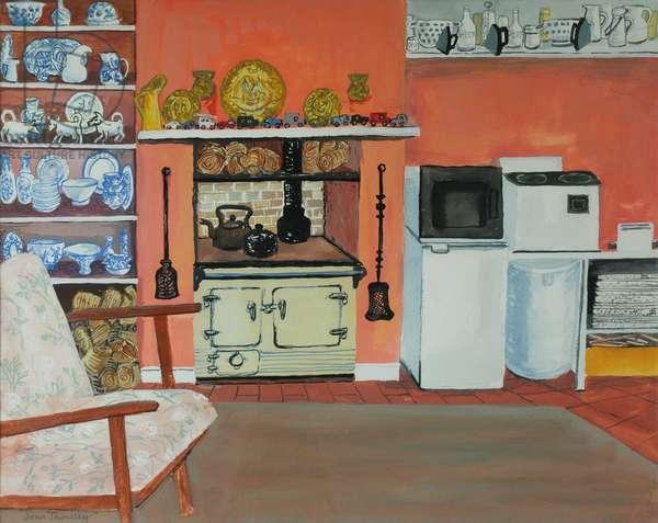 Cottage Kitchen,Red Cottage Studios,Suffolk with Rayburn,2000, gouache
