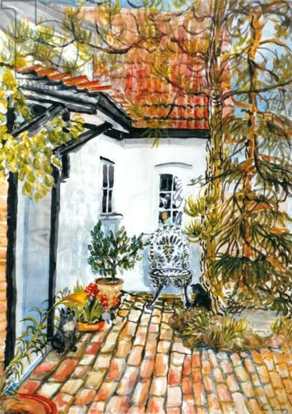 Caroline's Cottage - the Old Post Office, (gouache)