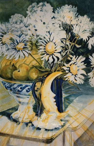 Marguerites in a Blue Jug with a Moon Lamp, (gouache)