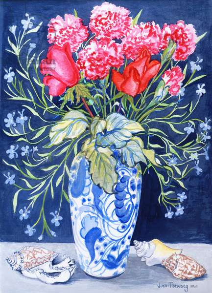 Roses, Carnations and Lobelia in a Blue and White Vase,3 Shells Textiles 2011(water colour)
