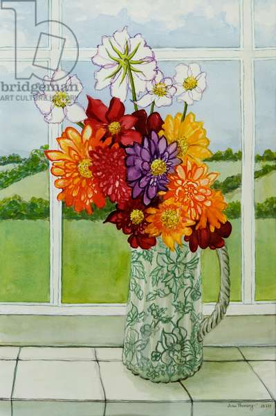 Dahlias on the Cottage Window Sill,2010,watercolour