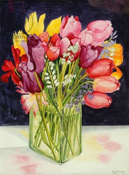 Tulips and Bluebells in a Rectangular Glass Tub,2001,(watercolour)