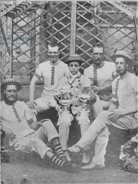 Thames Rowing Club, winners of the Wyfold Challenge Cup at Henley Royal Regatta, 1870 (b/w photo)