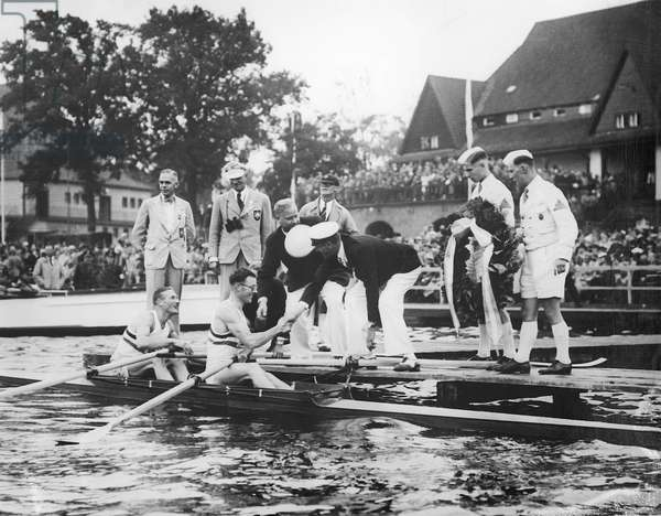 Great Britain, gold medallists in the double sculls at the 1936 Berlin Olympic Games, 1936 (b/w photo)