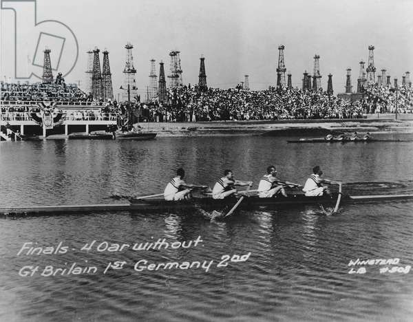 Great Britain, gold medallists in the coxless fours at the 1932 Los Angeles Olympic Games (b/w photo)