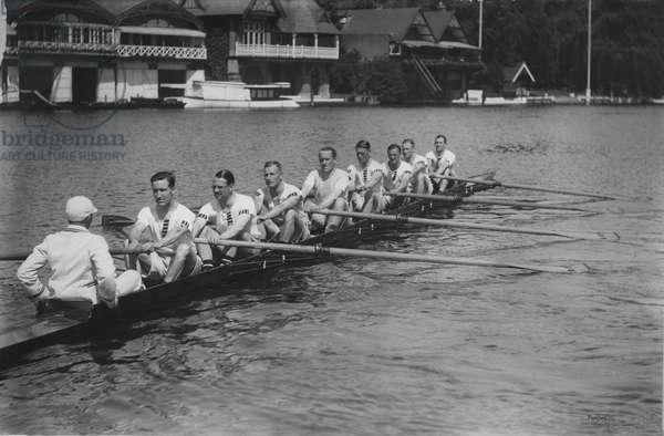 Great Britain, silver medallists in the eights at the 1928 Amsterdam Olympic Games, in training at Henley, 1928 (b/w photo)