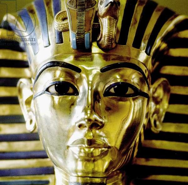 Cairo: Archeological Museum. Gold funeral mask of All-Ankh-Amon (Tutankhamun) (18th Dynasty).