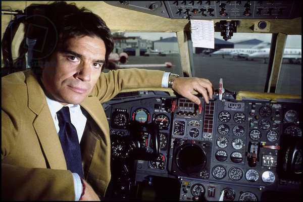 Portrait of businessman Bernard Tapie in the cockpit of his private jet, approximately 1983 Photography