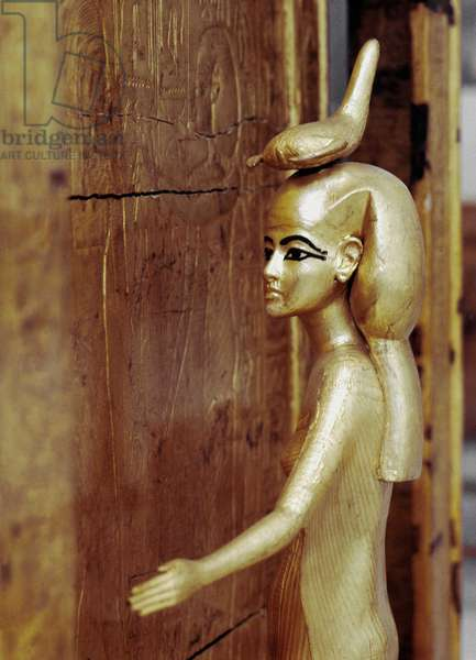 Cairo: archeological museum. Tresor of Tutankhamun representing the protective goddess of the canopy chest.
