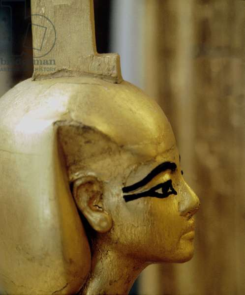 Cairo: Archaeological Museum. Tutankhamun's Tresor (or All-Ankh-Amon) protector of the canopy trunk. (18th Dynasty).