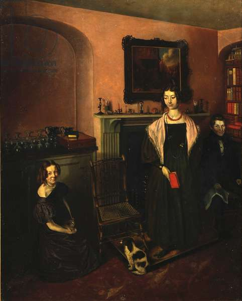 Fireside in the Family Home with three members of the Family, 1830-35 (oil on canvas)