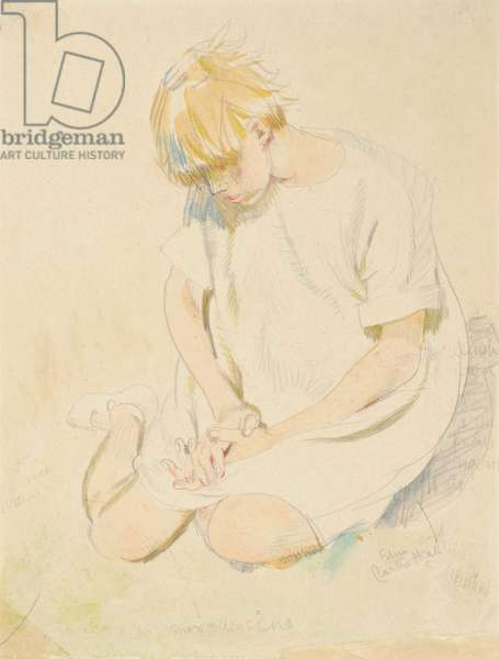 Seated Child, 1920-30 (w/c & pencil on paper)