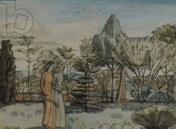 Barbara in the Garden, 1913-14 (w/c on paper)