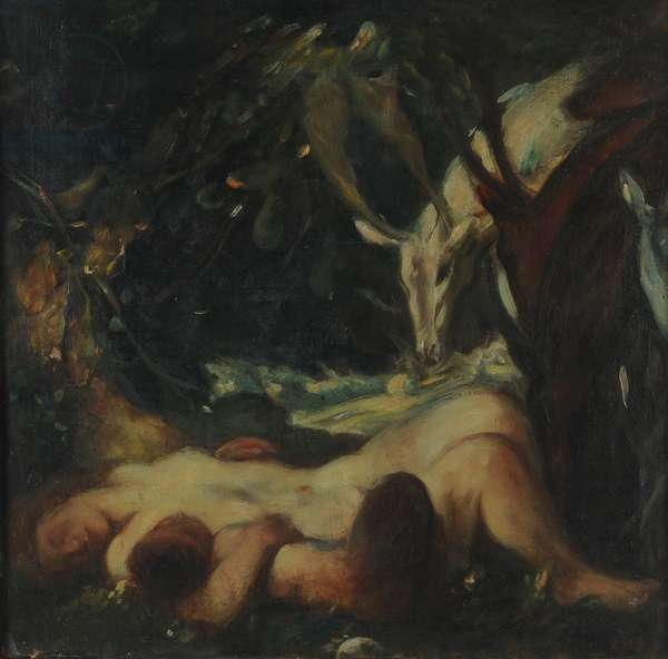Study for The Sleeping Wood Nymph, 1903-06 (oil on canvas)