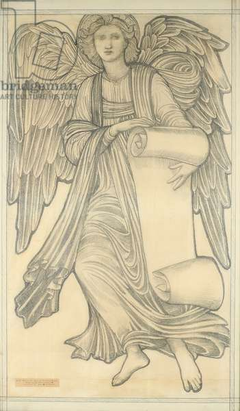 Angel with Scroll - figure number nine, 1880 (chalk on paper)