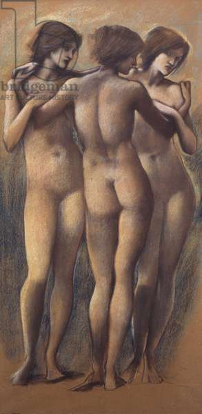The Three Graces, c.1885 (chalk on paper)