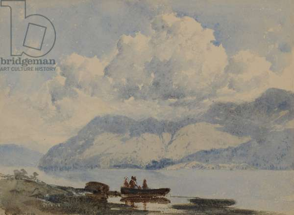 Lake with Boat and Figures, 1840-58 (w/c on paper)